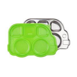 【紫貝殼】『INNOBABY01-2』美國 Innobaby 不鏽鋼巴士造型餐盤(新款附蓋) 巴士餐盤  綠色【保證公司貨●品質有保證●非水貨】