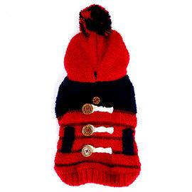 Pet s Talk^~柔軟條紋暖呼呼球球連帽衣~紅色款