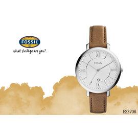~時間道~〔FOSSIL~錶〕優雅氣質 羅馬刻度女錶–白面咖啡皮 ^(ES3708^)免