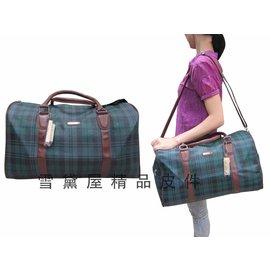 ~雪黛屋~SANDIA POLO 旅行袋專櫃綠格紋 旅行袋 防水防刮皮革肩背手提肩背斜側附