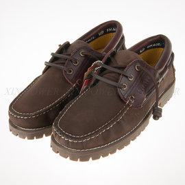 SNAIL 真皮 皮革 柔軟鞋墊 雷根鞋 帆船鞋-咖棕 (S-285083)
