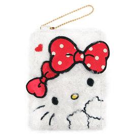 Hello Kitty白色雪花毛絨絨紅色雙蝴蝶結大臉 皮革票卡夾 證件夾 卡套 車票夾 附