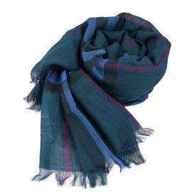 【全新現貨 優惠中】BURBERRY 時尚配件 經典格紋絲質羊毛披肩圍巾.藍綠現金價$13,800