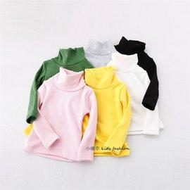 小確幸AM063韓國 內抓絨加厚寬高領打底衫保暖抗寒素色內搭衣 粉色 1^~5Y