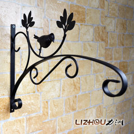 黑哥铁艺壁挂花架 花篮钩 壁挂式 吊篮 挂钩 户外花架