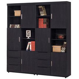 【時尚屋】[G15]米樂黑5.3尺書櫃220-6免運費/免組裝/書櫃/抽屜櫃/開放式書櫃