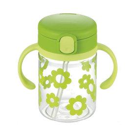 【紫貝殼】『DCB01-2』日本《Richell-利其爾》(新)LC兒童戶外吸管水杯-第二代喝水杯吸管學習杯200ml翠綠