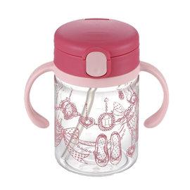 【紫貝殼】『DCB01-1』日本《Richell-利其爾》(新)LC兒童戶外吸管水杯-第二代喝水杯吸管學習杯200ml 桃紅