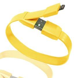 方便充電傳輸線 Micro USB 手環式粉彩傳輸充電線^(黃色^)