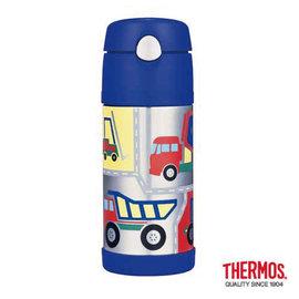 THERMOS 膳魔師 不鏽鋼真空保溫 兒童保溫杯 保冰彈跳吸管杯 370ml~工程車 ^