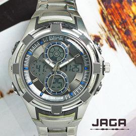 ☆★巴賽爾精品館☆★JAGA捷卡 AD107 競速豪邁運動風雙顯示防水多功能電子錶