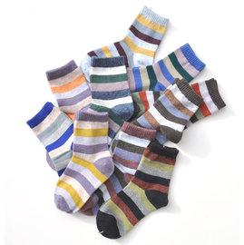 ^~韓風童品^~  ^(3雙 組^)男童兒童條紋中筒襪 保暖毛絨襪 厚棉襪子童襪 兒童襪