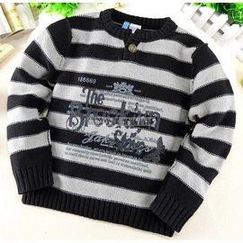 ^~長袖~毛衣^~ 歐單條紋字母粗針織保暖毛衣  男童 寒流禦寒 上衣 小中童 120cm