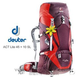 【德國 Deuter 】ACT Lite 45 + 10 SL  輕量拔熱式透氣背包/登山健行背包/Aircontact 輕量行拔熱透氣系統 _ 3340215 紫/紅