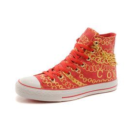 Converse 匡威 土豪金鍊條款 高幫帆布鞋 情侶休閒鞋 男女慢跑鞋(橘黃35~43)
