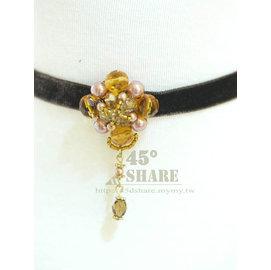 ^~45° Share^~金咖啡色水滴串珠寶石花 絨布綁帶短項鍊~N0619019R