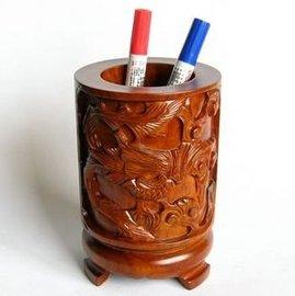 V雅軒齋 紅木工藝品木雕擺件 龍鳳呈祥筆筒 文房四寶家居書房
