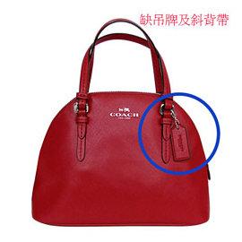 COACH 32582 深紅色防刮皮革手提 斜背小型保齡球包^(展示品^)~缺斜背帶及