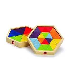 【紫貝殼】『CGC05-15』德國 愛傑卡 Hape 混合型拼圖 (附收納盒)/棱形幾何拼圖(掌上型)