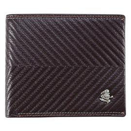 SINA COVA 老船長三角紋牛皮短皮夾SC31503-3-深咖啡