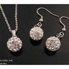 ~~芙娜~~ 白色閃亮水晶鑽球球白鋼項鍊或耳環  單件140元