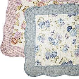 50×70cm— 玫瑰花園格紋拼布絎縫防滑地墊腳踏墊 粉紅色 粉藍色~ 民族~^(680^