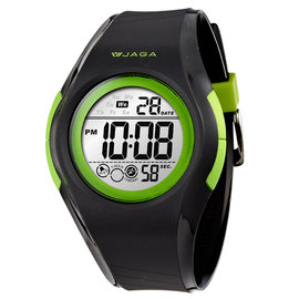 M984~AF捷卡JAGA 休閒多 冷光 電子錶 黑綠色 男錶 錶 學生錶