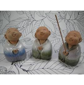 【啟秀齋香品軒】手捏泥塑微笑沙彌香插 家居飾品擺飾 茶寵 鶯歌陶瓷藝品