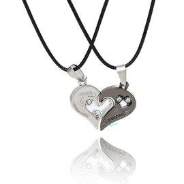 (限量好康)(2入/對)鈦鋼情侶項鍊 黑白配愛心永相隨 忠貞永遠的愛