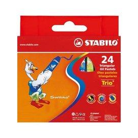 STABILO 德國天鵝牌 trio系列 兒童用油性粉蠟筆 紙盒組 24色24支裝^( :