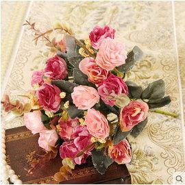 F0732 歐式高檔仿真花 家居客廳裝飾花絹花假花 21頭複古油畫玫瑰^(1束─21朵^)