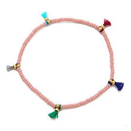 SHASHI 紐約品牌 Lilu 彩虹流蘇 幸運手鍊 嫩粉色