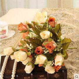 F0755 歐式仿真花假花絹花客廳裝飾花 家居家飾餐桌花 把束花珠光玫瑰苞^(1束─21個