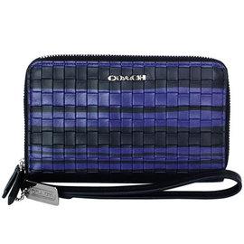 COACH 62249 藍黑條紋編織全皮拉鍊雙層掛式手機袋中夾