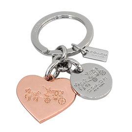 COACH 63381 玫瑰金愛心馬車圖繪壓字串飾鑰匙圈