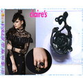 ~POLLY媽~ claire s Matte Rose Ring黑色金屬鏤空玫瑰 戒指£