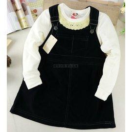^~吊帶裙~絨布^~ ELFINDOLL黑色素面吊帶裙 女童 春  小中童 洋裝 表演服