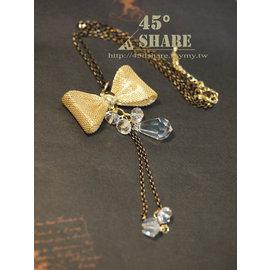 ^~45° Share^~正韓~韓國空運來台~金屬編織蝴蝶結 水滴型水晶吊飾 串珠項鍊~N