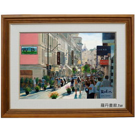 市集圖 繁華熱鬧街景圖畫 普羅旺斯風景 陳文彬作品^(羅丹畫廊^)複製畫 裝飾畫 掛畫