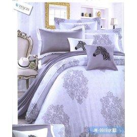 JM~9919水藍蕾絲雙人6尺加大雙人床七件式床罩組通販部