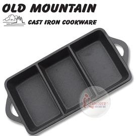 探險家戶外用品㊣10193 RG 美國Old Mountain 鑄鐵長方三格烤盤9.25吋 小格盤/方盤/小菜碟 (免開鍋