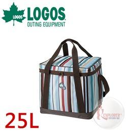 探險家戶外用品㊣NO.81670710 日本品牌LOGOS 條紋軟式保冷袋M (25L) 軟式摺疊冰箱 行動冰箱 冰桶 保冷箱