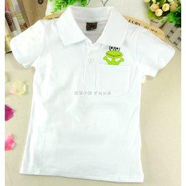 ^~短袖^~ 馬克露西純色開襟青蛙白色POLO衫彈性上衣 春夏秋 兒童畢業典禮服 嬰幼兒