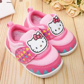 童鞋城堡~Hello kitty 小童 圖騰風學布鞋715903~桃紅