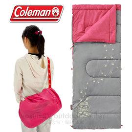 【美國 Coleman】Dark Kids' Sleeping Bag C7 夜光型兒童睡袋/7度C.信封型睡袋/可機洗.附收納袋.可當棉被.睡墊 /CM-22263 桃紅