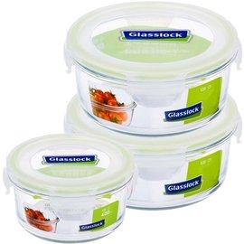 《百年老店》Glasslock強化玻璃微波保鮮盒三件組 100%韓國生產 禮盒包裝 圓型便當盒 蔬果冰箱收納
