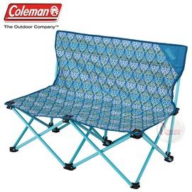 探險家戶外用品㊣CM-22002 美國Coleman 藍葉圖騰情人椅 對對椅雙人椅摺疊椅 折合椅 折疊椅 長板凳