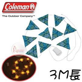 探險家戶外用品㊣CM-22287 美國Coleman 三角旗LED串燈 藍 彩燈 小夜燈 LED營燈 氣氛燈 聖誕裝飾燈 鏈燈