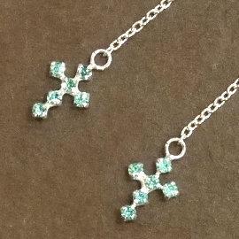 ~La luna 銀飾豐華~精緻秀氣水藍色十字架小水鑽長鍊 純銀耳環^(E5383^)