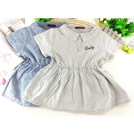 ^~襯衫^~ DOLLY RIBBON薄牛仔裙式娃娃裝襯衫2色 上衣 春夏秋 女童 小中大